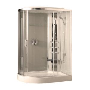 COMFORTY 183R стекло прозрачное, задняя панель слоновая кость, 1200*850*2150