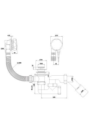 Ани Пласт сифон для ванны 1 1/2*40 (полуавтомат) EM321 - купить в Челябинске