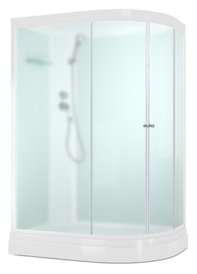 Domani-Spa Delight 128 L-Левая (120х85х218см) Низкий под., Белые стенки, Сатин мат.стекло