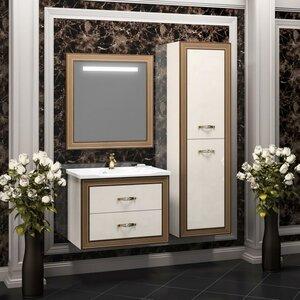 OPADIRIS с зеркалом Карат 80, Белый глянцевый с золотой патиной