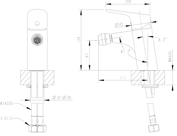 Смеситель для биде Bravat F34898C Drop (182344) - купить в Екатеринбурге