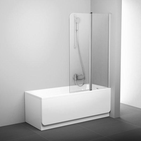 Шторка для ванны Ravak 10CVS2-100 R блестящая+транспарент, двухэлементная, серия 10° - купить в Екатеринбурге
