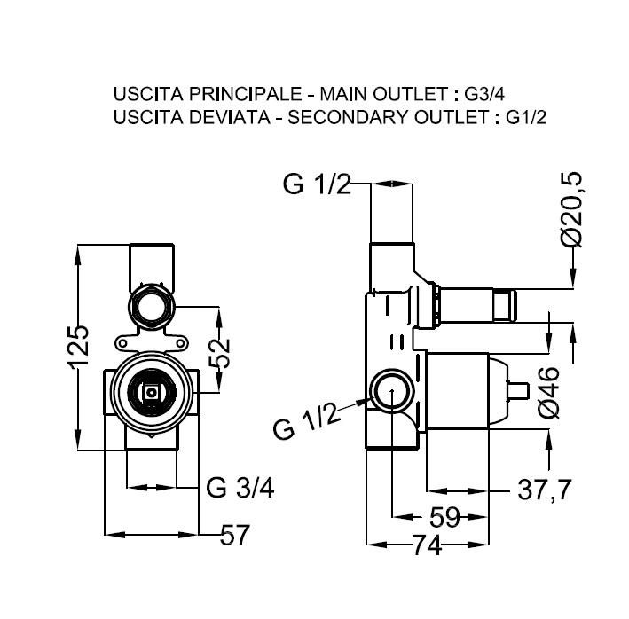 Zipponi Универсальный встраиваемый механизм для ванны, D-46мм с дивертером D-21мм - купить в Нижневартовске