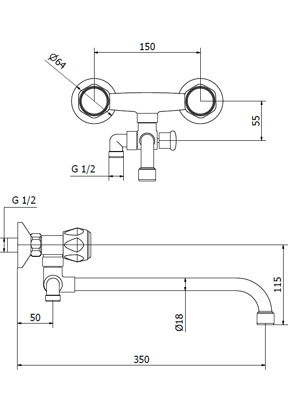 Смеситель для ванны Zipponi MONET трубчатый излив MO550ACR-001 - купить в Екатеринбурге
