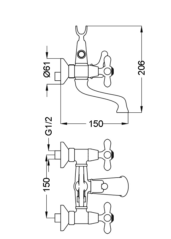 Смеситель для ванны Zipponi MONET 2-вентильный MN100CR29CZ - купить в Нижневартовске