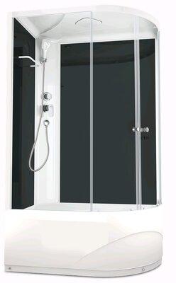 Душевая кабина Domani-SPA Delight128 L high, выс. под, прозр. стекло, задн.черн.стекл. панель, Б/Э,1200*800*2180 - купить в Нижневартовске