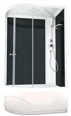 Domani-SPA Delight128 R high, выс. под. прозр. стекло, задн.черн.стекл. панель,1200*800*2180