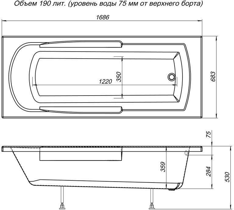 Ванна акриловая Aquanet EXTRA 170*70 без гидромассажа с каркасом - купить в Тюмени