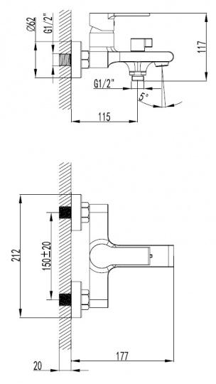 Смеситель для ванны Smartsant Адамант SM303503AA(A) - купить в Екатеринбурге