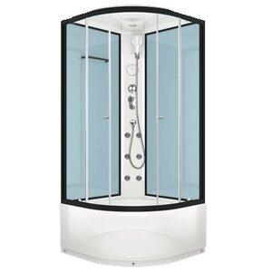 DOMANI-Spa Delight 99 high , высокий поддон, стенки  Dusty blue, профиль Graphite, кнопочный блок управления, вертикальный гидромассаж,