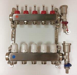 TAEN 1x3/4x5 вых. в СБОРЕ (нерж.сталь)  (расходомеры, регул.клапаны, воздухоотводчик, слив.кран, кронштейн-2 шт.)