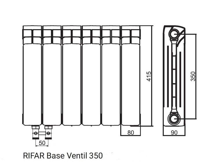 Биметаллический радиатор RIFAR BASE VENTIL 350 6 секций BVR - купить в Сургуте