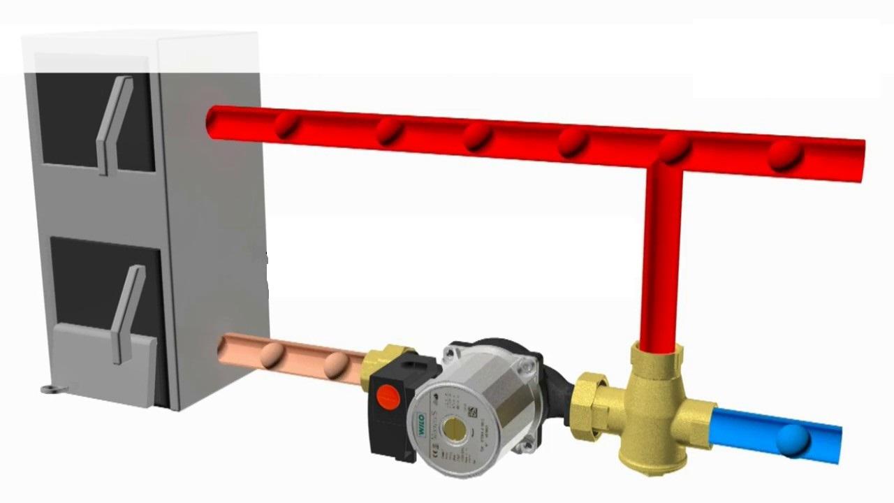 STOUT Смесительный клапан для твердотопливного котла G 1М-G 11/2F-G 1M   60°С - купить в Челябинске