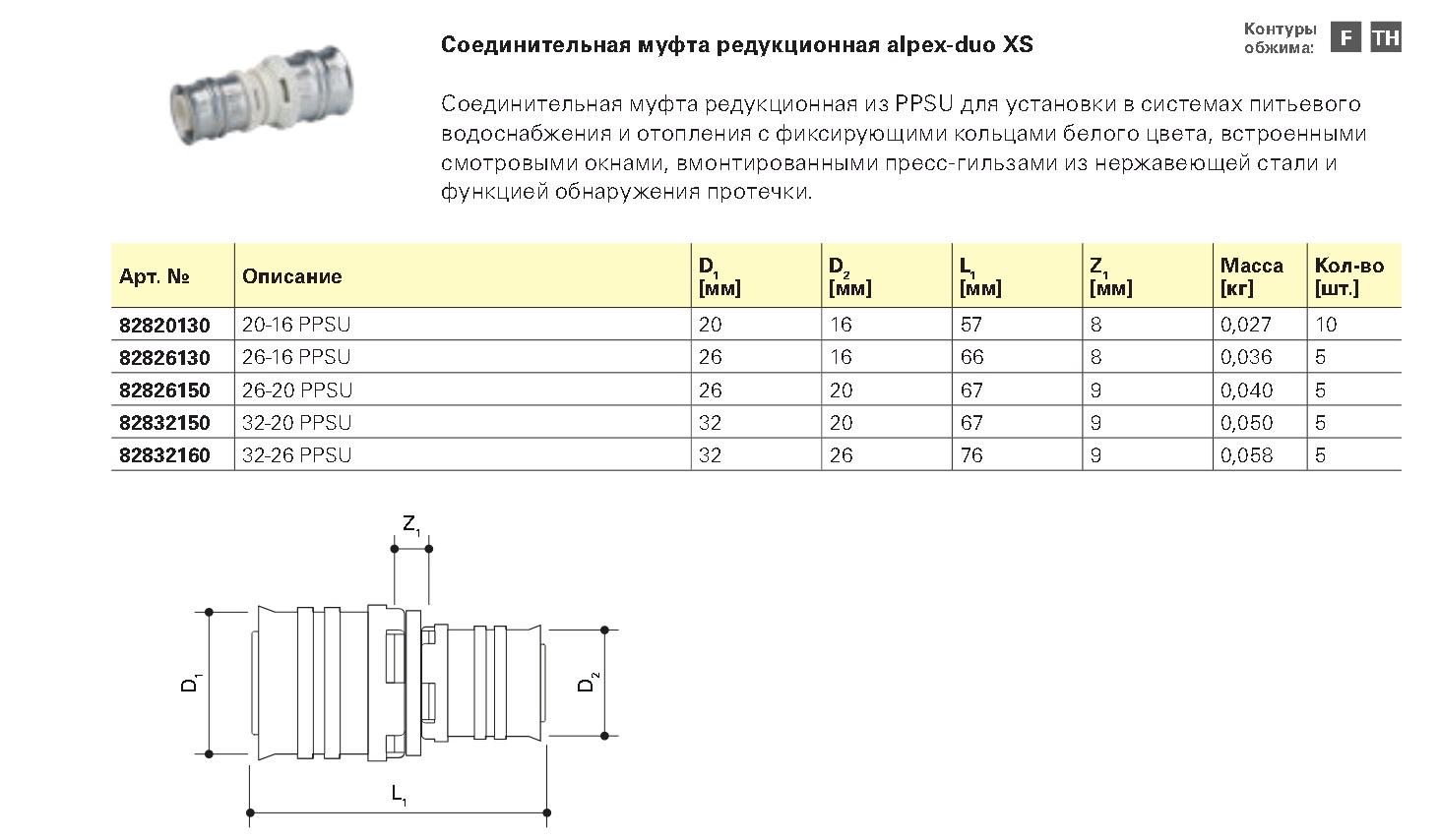 Пресс фитинг FRAENKISCHE Муфта редукционная 20x16 alpex-duo XS PPSU - купить в Челябинске