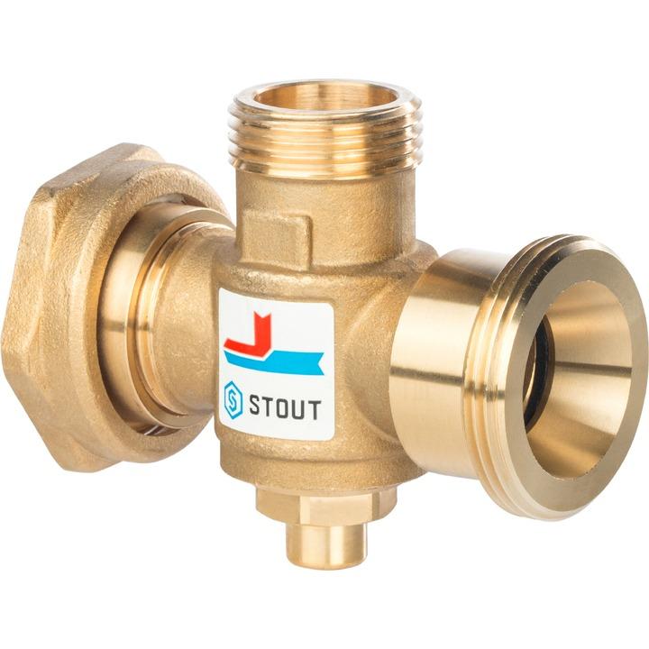 STOUT Смесительный клапан для твердотопливного котла G 11/2M-G 11/2F-G 1M   60°С - купить в Екатеринбурге