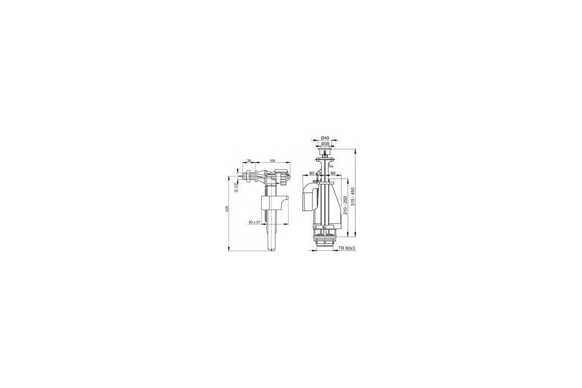 ALCA PLAST Выпускной комплект с двойной кнопкой, впускной механизм d-1/2, сливной d-1/2 - купить в Екатеринбурге