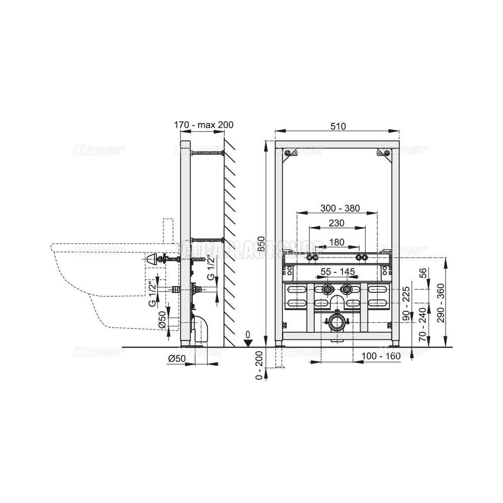 Инсталляция для биде ALCA PLAST (высота монтажа 1,12 (м)) - купить в Екатеринбурге