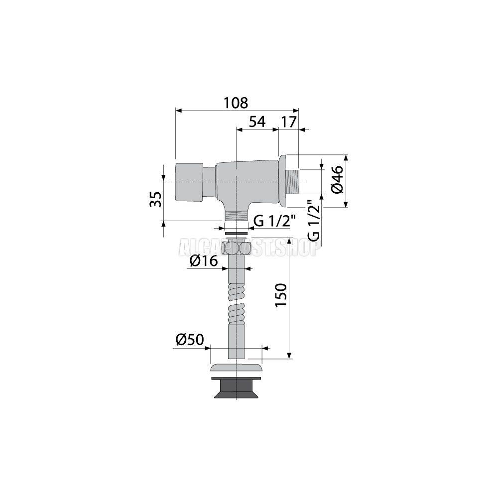 ALCA PLAST Кнопочный сливной вентиль для писсуара - купить в Сургуте