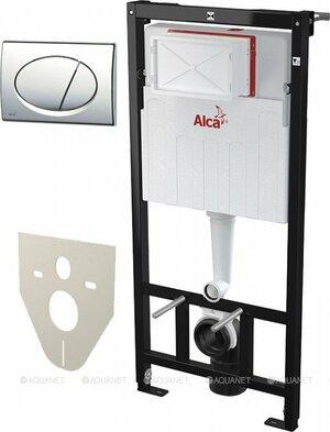 Инсталляция для унитаза ALCA PLAST Set с инсталляцией, кнопкой хром/глянец и шумоизоляцией - купить в Екатеринбурге