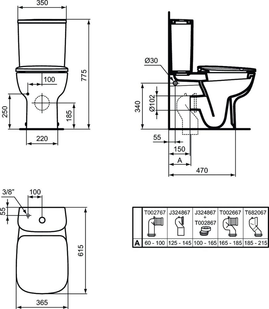 Бачок для унитаза Ideal Standard ESEDRA, нижняя подводка, двойной смыв 3/4,5 (л) - купить в Перми