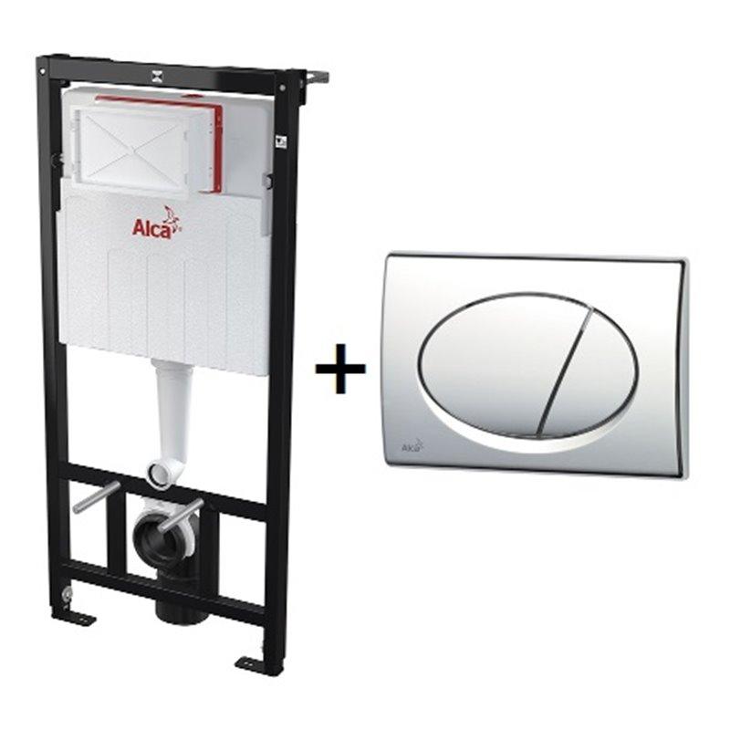 Инсталляция для унитаза ALCA PLAST Комплект 3 в 1 инсталляции с хром кнопкой (инстал.,кнопка,крепеж) - купить в Екатеринбурге