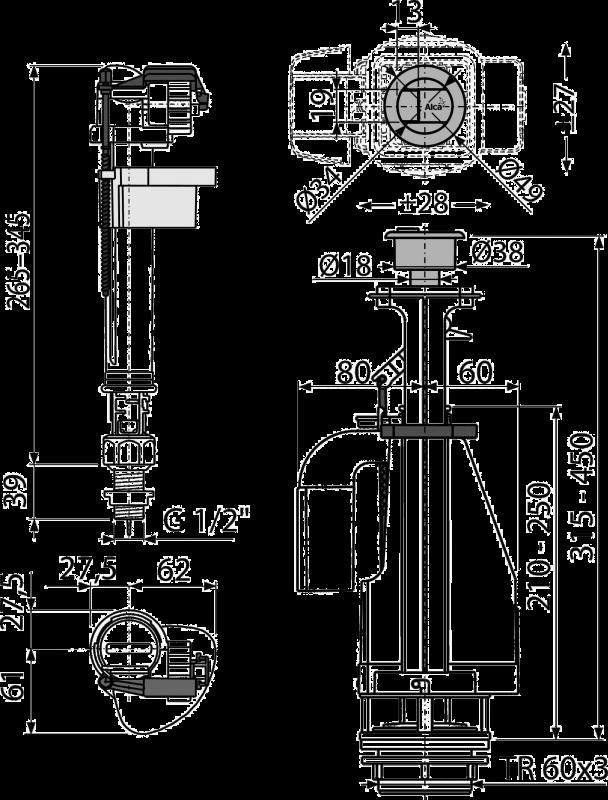 ALCA PLAST d-1/2 Выпускной комплект с двойной кнопкой - купить в Сургуте