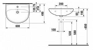 Раковина подвесная Jika Lyra 14272 60 см - купить в Екатеринбурге