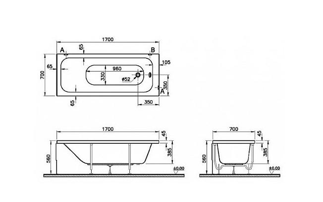 Ванна акриловая VITRA Optimum Neo 170x70 - купить в Перми