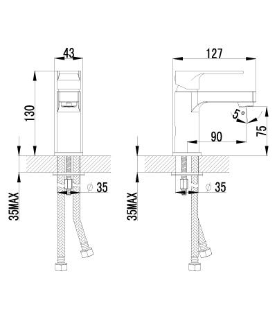 Смеситель для раковины LeMark plus GRACE LM1506C монолитный - купить в Екатеринбурге