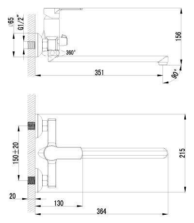 Смеситель для ванны LeMark plus GRACE LM1551C с плоским изливом 300 мм - купить в Екатеринбурге